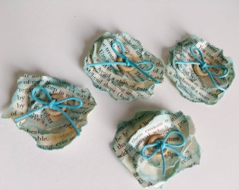 Torn paper flower embellishment / blue / collage / distressed / book pages / mixed media / altered art / assemblage supplies / journals