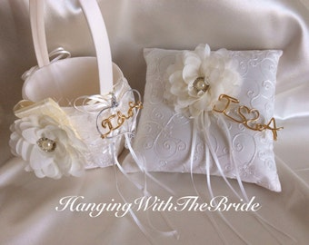 Ring bearer Pillow and flower girl basket, lace ring bearer wedding pillow, personalized Ring bearer pillow