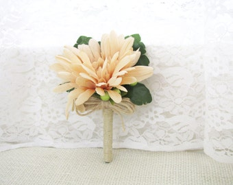 Set of 4 Pieces Peach Daisy Corsages / Boutonnieres, Daisy Boutonnieres, Peach Wedding Corsage, Wedding Boutonniere, Wedding Floral