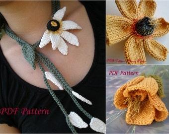 PDF Knit Jewelry Pattern Set - Does He Love Me Lariat, Daisy Flower, Poppy Flower