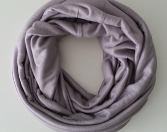 Infinity Scarf - Jersey Knit Circle Loop Pastel Grape Mauve