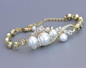 Gold Bridal Bracelet,  Gold Crystal & Pearl Bracelet, Pearl Wedding Jewelry, Bridal Jewelry, TILLY