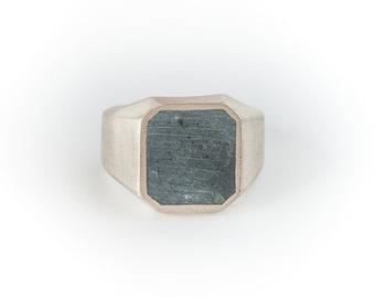 Concrete Jungle-Signet Ring-Concrete Ring-Gray and Silver Ring-Square Men Signet Ring-Men signet ring-Designer-Mens Gray Ring-Cement Ring-MJ