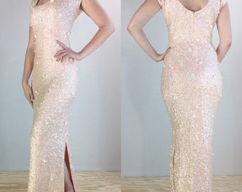1950's/60's Gene Shelly Boutique International Pale Pink Irridescent Sequin Wiggle Dress | Size Small/Medium