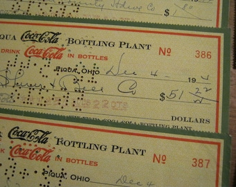 1944 Coca-Cola Bottling Plant Checks, Ephemera, Vintage Checks