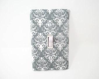 Nursery Light Switch Cover - Gray Damask Switch Plate - Grey Nursery Decor