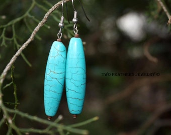 Southwest Style Turquoise Earrings - Turquoise Magnesite - Turquoise And Brown - Gift For Her - Stone Earrings - Long Earrings - Made In US