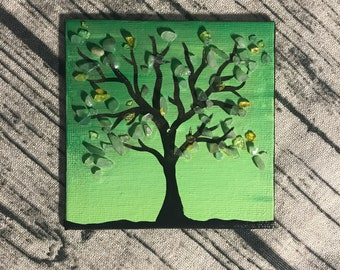 Original tiny small acrylic painting with tree and gemstones crystals citrine green aventurine