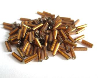 10 grams seed beads 6mm (rt13) golden brown glass tube