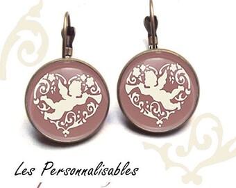 bronze love Angel earrings