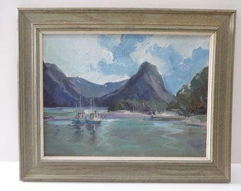 Original Framed Art, Landscape Art, Original Framed Oil Painting, Oil Painting, Nautical Art, Boat Art, Cabin Decor, Living Room Decor