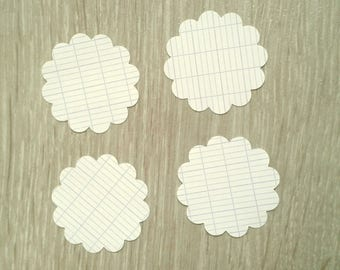 Lot 30 round tags with graph paper - diameter 3.5 cm - T4