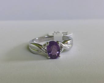 Amethyst Sterling Silver Ring, Natural Amethyst, Amethyst Solitaire Ring, Amethyst Ring, Stacking Ring, February Birthstone