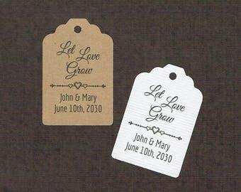 Wedding Tags, Set of 50, Let Love Grow Tag, Printed Tags, Wedding Shower Tags, Tags, Wedding Favor, Thank You Tag