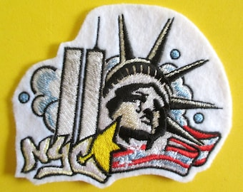 Embroidered Statue of Liberty Applique Patch, New York City, Lady Liberty, Red White and Blue, Patriotic Patch, Iron On or Sew On