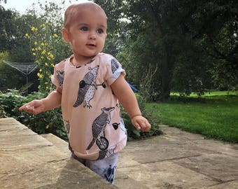 Light pink Armadillo Organic cotton baby t-shirt, baby tee, baby clothes, toddler t-shirt