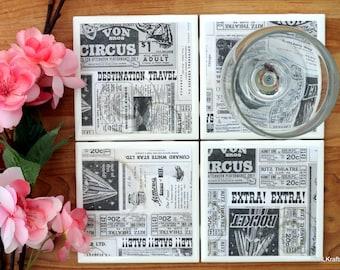 Table Coasters - Newspaper Coasters - Coaster - Tile Coaster - Coasters for Drinks - Coasters Tile - Home Decor - Handmade Coasters