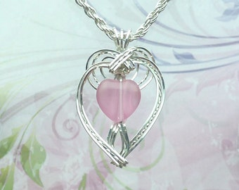 Heart Shaped Pink Womans Pendant Wire Wrapped Jewelry Handmade in Silver with FREE SHIPPING