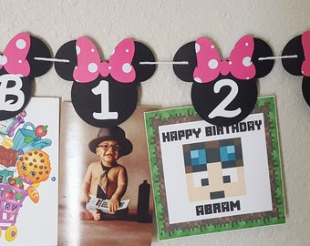 Minnie Mouse Photo Banner, Minnie Mouse Birthday, Minnie Mouse Banner, Minnie Mouse Party, Minnie Birthday, Mickey and Minnie Photo Banner