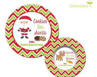 Santa Cookie Plate for Kids - Personalized Santa Cookie Plate - Santa Christmas Plate - Personalized Reindeer Carrot Bowl