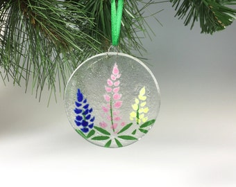 Lupine Ornament, Fused Glass Ornament, Flowers, Wild flowers, Lupines