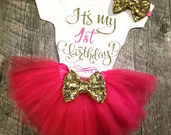Pink TUTU Birthday Set, Half, 1/2, First, Second or Third Birthday - TUTU, Onesie and Matching Bow
