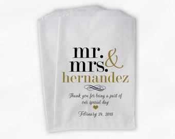 Mr & Mrs Candy Buffet Bags - Personalized Last Name Wedding Favor Bags - Black and Gold Paper Treat Bags