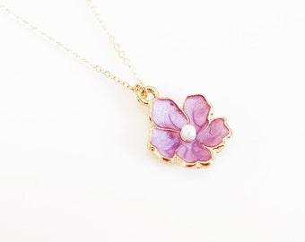 Lavender Sakura Necklace - Cherry Blossom Necklace - Gold Filled Chain - Gold Flower Necklace - Sakura Jewelry - Purple Necklace