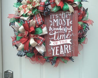 Deco Mesh Christmas wreath - It's the Most Wonderful Time of the Year!