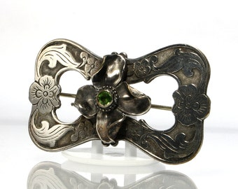 Antique Flower Brooch, Victorian Sash Pin With Green Stone