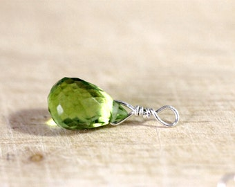 wrapped briolettes | sterling silver wrapped peridots | jewelry making supplies | diy jewelry | sterling silver wrapped gemstone add on