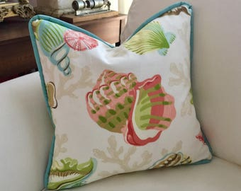 Seashell pillow cover/16 x 16 inch/beach decor/pillowcase/accents for your home