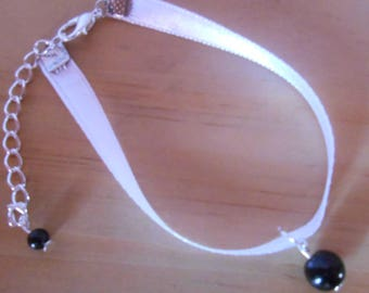 Black satin Pearl wedding bracelet