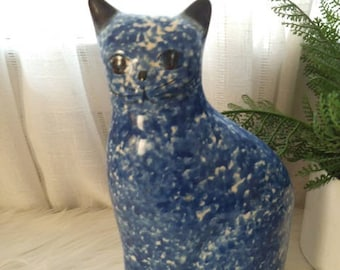Vintage Blue and White Splatterware Calico Kitty Cat ~ BANK