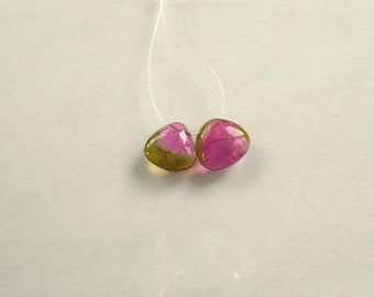 Watermelon tourmaline slice beads 9mm 5ct 2 pieces