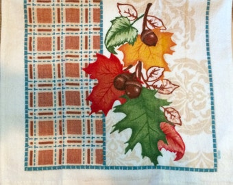 Fall Leaves and Acorns Crochet Top Towel  (F4)