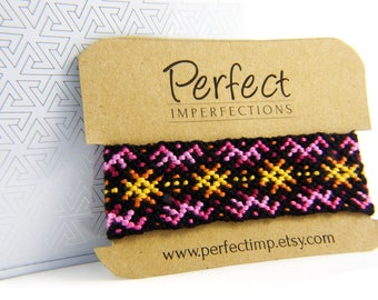 Sunset Handwoven Friendship Bracelet / Native American Macrame Jewellery / Best Friend Gift Pink Bracelet / Handmade Yellow Bracelet Cuff