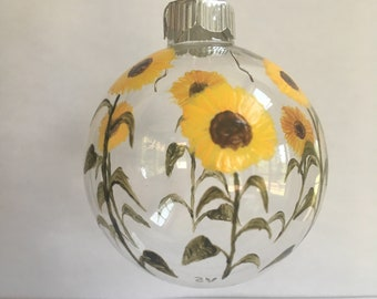 Sunflower Glass Ornament, Hand Painted