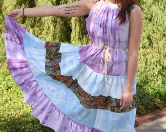 Bohemian Gypsy Goddess Maxi Sundress, Tie Dye Plus Size Beach Dress, Boho Hippie Summer Festival Dress, Handmade Patchwork Eco Clothing