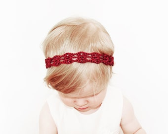 Baby Girl Headband, Red Baby Headband, Crochet Headband, Baby Shower Gift, Newborn Headband, Baby Head Bands, Infant Headband Baby Girl