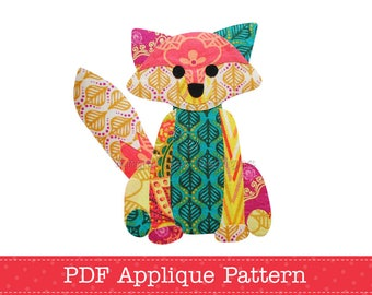 Francie Fox Applique Pattern Fox Applique Design Patchwork Fox PDF Applique Template