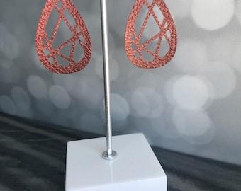 Geometric Earrings- Dangle Earrings- Faux Leather- Earrings- Handmade Earrings- Statement Earrings- Gifts For Her