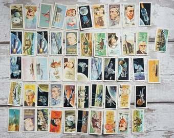 50 Vintage Brooke Bond Tea Cards Mixed  lot #1 Ideal for Junk Journal Art Journal Scrapbook Crafting Famous people Space Dinosaurs Ships