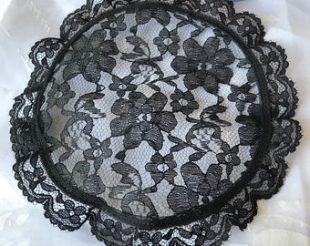 Small Black Lace Head Covering Prayer Cap Church Vail