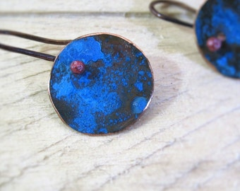 Earrings of copper blue Patina