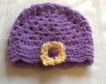 Crocheted baby hat, lavender/purple