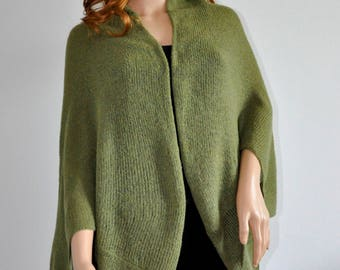Wrap Batwing Cardigan Thin vest Knit loose clothes for spring coat for women Handmade olive green Boho Sweater Cocoon coat jacket knit loose