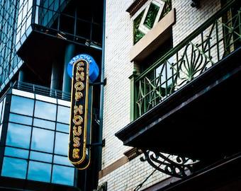 Fort Worth Texas Neon Sign - Sundance Square - Plaza Hotel - Mercury Chop House
