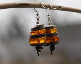 Modern Amber Earrings / Honey Amber Dangle Earrings / Slices of Shells / Genuine Amber / Contemporary Jewelry