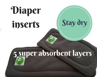 Cloth Diaper Inserts, stay dry Inserts, Cloth Nappy Insert, 5 Layer stay dry microfleece Insert